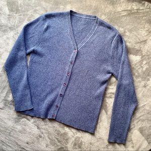 Thrifted | dark blue grey ribbed v-neck cardigan